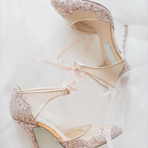 Betsey Johnson Sequin Champagne Heels | Bridesmaid